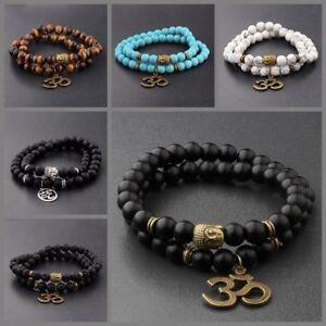 8MM Fashion Natural Obsidian Beads Double Winding Charm Buddha Beads Bracelets