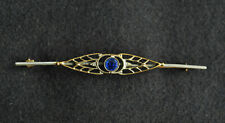 Delicate Art Nouveau Blue Glass and Goldtone Brooch on a Silvertone Bar