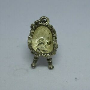 Vintage silver baby's basket charm