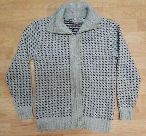 London Fog Mens Sweater Jacket Sz M Wool Blend Fair Isle Zip Heavyweight USA Vtg