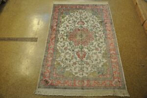 Ivory - Rose New Hand-Knotted Carpet 5 x 8 High Quality Silk