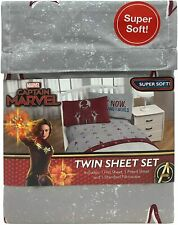 Marvel Captain Marvel 3 Piece Twin Sheet Set 100% Polyester Brand New Package