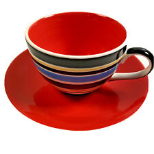 Tea Cup Saucer Duo Hand Painted Bright Red Multi Stripe Retired Whittard Chelsea
