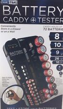 Battery Tester Caddy Organizer holds up to 72 Batteries Wall Mount or Counter