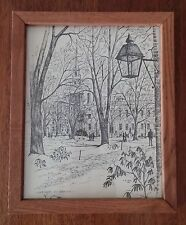 "C.M. Goff 1969 - Ink on Paper - Framed with Glass - ""Harvard University"""