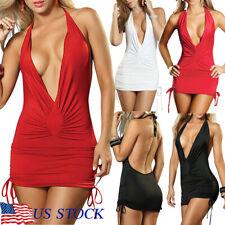 Women Sexy-Lingerie Lady Deep-V Clubwear Mini Dress Pajamas Halter Nightwear US