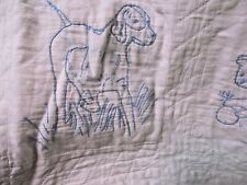 "OLD Hand Quilted Star Blue Embroidery Animals Quilt  "" NOAH'S ARK."