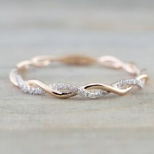 Fashion Women 14K Rose Gold Plated Stack Twisted Ring Wedding Party Jewelry Gift