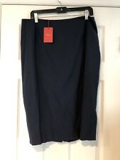 New Les Copains Skirt Blue Size 14 / 48 Retail $280 Made In Italy