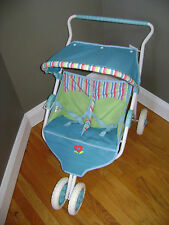 Retired American Girl Bitty Baby Twin Dolls Double Stroller Side By Side Stripes