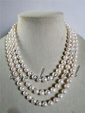 """3 rows strands 8-9mm South Sea white pearl necklace 17""""19""""21"""" 14K gold clasp"""