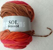 Lana Grossa Sol Dégradé 100g Ligero Hilo de algodón color 59 FUCSIA Braun Orange