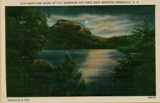 Night Time Scene City Reservoir Table Rock Mountain Greenville SC Postcard C10