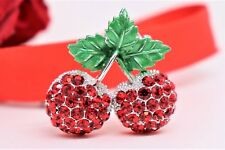 Vintage Crystal Cute Red Juicy Cherry Fruit Green Leaf Charm Pin Brooch by RNZ