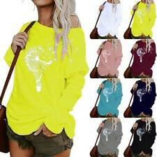 Women Long Sleeve One Shoulder Printed Blouse Tops Loose Baggy Pullover Shirts