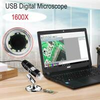 1600X USB Digital Microscope Stand Magnifier Electronic Coin Inspection 8-LED