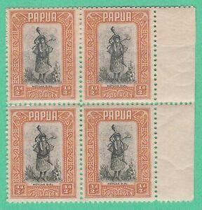 "PAPUA 1932 MINT BLOCK x 4 STAMPS  ""MOTUAN GIRL"" 1/2 Pence, ORIGINAL GUM ~ CHEAP"