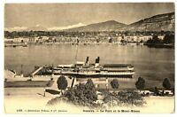 CPA Suisse Lémanique Genève Le Port et le Mont-Blanc bateau
