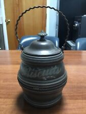 1890 Antique Forbes Silver Co. footed Biscuit jar barrel with lid engraved maker