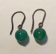 * BEAUTY Sterling Silver Green JADE Ball Drop/Dangle Fish Hook Earrings Mexico