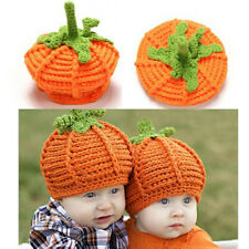 Newborn Baby Cute Pumpkin Cap Knit Hat Halloween Costume Photography Prop