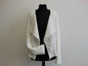 Damen Blazer Jacke Bolero Umhang Cardigan Weiß Spitzen GR L