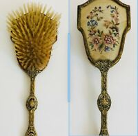 Antique Hair Brush Ornate Brass Vanity Table Victorian Needlepoint England Glass