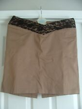 BEIGE SHORT STRAIGHT PENCIL SKIRT WITH LACE WAIST *MELROSE* - SIZE 12 /14 -BNWT