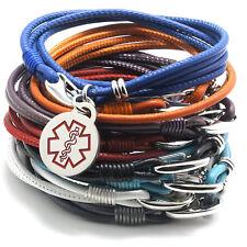 Designer Quality Medical Alert Leather Bracelet - For Her - 12 Colors - Napa