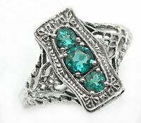 1CT Apatite 925 Solid Sterling Silver Art Deco Style Ring Jewelry Sz 6 PR42