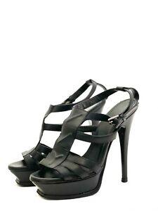 YSL Yves Saint Laurent Black Leather Platform Stiletto High Heel Sandals EUR 35