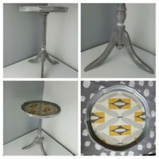 SHABBY CHIC - Grey Washed Tri Pedestal Table Stand Ochre Print Unique MODERN