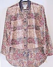 STEPHANIE THOMAS BLOUSE 10 ATTACHED VEST ANIMAL PRINT NEW