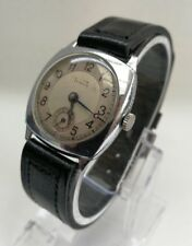 Vintage 1940's Gents Chrome Cushion Rolex Tudor Watch Co. 15 Jewels Working