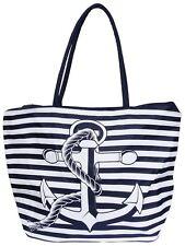 Damen Tasche Handtasche Henkeltasche Shopper Strandtasche großer Anker Weiß Blau