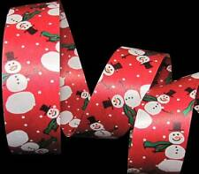5 Yards Snowman Snowmen Christmas Winter Red Acetate Gift Waterproof Ribbon 1 1/