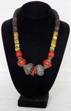 Handmade Bead necklace  Venetian millefiori old Spindle whorl beads & Brass