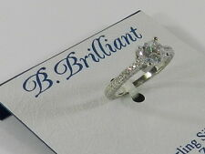 B Brilliant Sterling Silver Cubic Zirconia Engagement Ring (1-1/10 ct. t.w.)