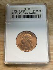1980-P 25C Washington Quarter ANACS MS64 Mint Error Obv Clad Layer Missing
