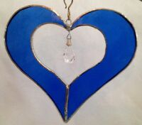 "5"" Stained Glass Blue Heart w/ Crystal Prism Suncatcher - Made in the USA CCI"