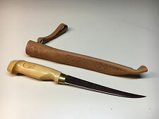 Old Vtg J. Marttiini Finland Fixed Signed Blade Fishing Fishing Knife W/Sheath