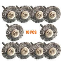 10 Acero inoxidable polaco cepillos de ruedas de alambre para taladro rotativo