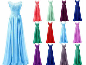 Long Chiffon Bridesmaid Prom Gown Dress Party Evening Formal Dress Size 6-26Hot