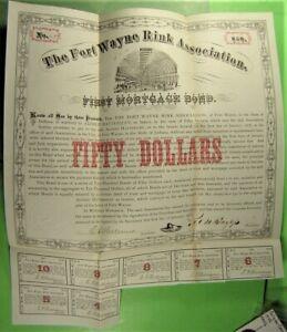 Fort Wayne Rink Association Bond for a skating rink.  1873