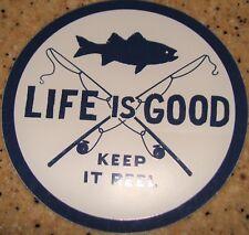 "Life is Good Sticker/Decal Fish Reel Dark Blue/White 4"" Round Keep it Reel"