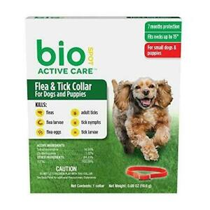BioSpot Active Care Flea and Tick Collar for Small Dogs & Puppies 15-Inch - Red