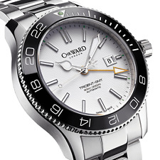 NIB Christopher Ward C60 Trident Pro 600 GMT White Automatic Diving Watch 43mm