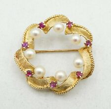 14K Yellow Gold 7 Pearl & Ruby Round Brooch Pin 29mm 5.7g S2507