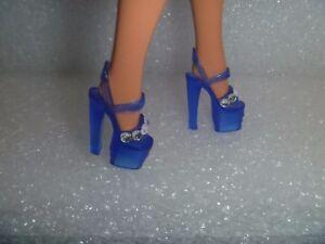 Barbie Shoes - 6 Jewel Studed Stiletto Heel Platform OOAK Translucent Blue