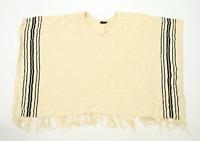H&M Womens One Size Striped Beige Poncho (Regular)